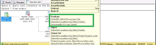 Query Plan for SQL Server 2016 Row Level Security
