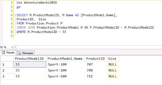 Sample SQL Server Query without JSON output