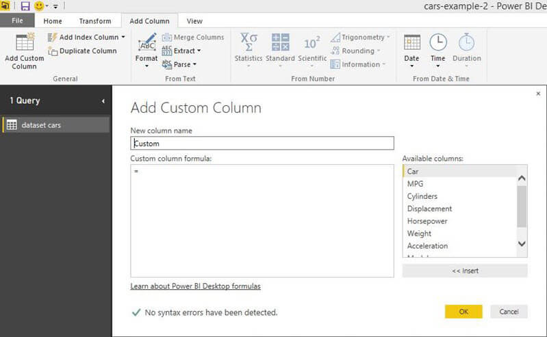Add a custom column in Power BI Desktop Edition
