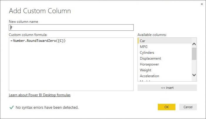 Number.RoundTowardZero function in Power BI Desktop Edition