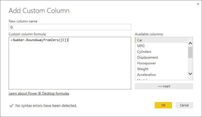 Number.RoundAwayFromZero function in Power BI Desktop Edition