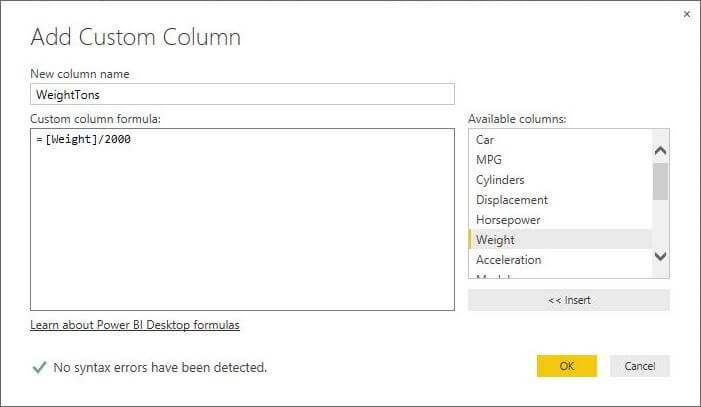 Custom Column with Weight Divided By 2000 in Power BI Desktop Edition