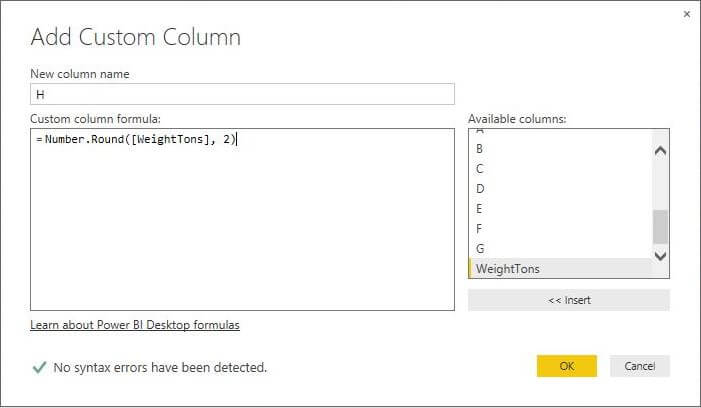 Weight in Tons calculation in Power BI Desktop Edition