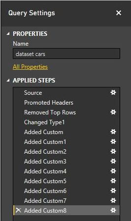 Applied Steps in Power BI Desktop Edition