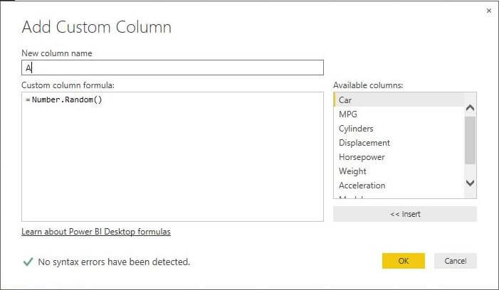 Use the Random Number function in Power BI Desktop Edition
