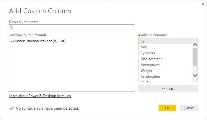 Number.RandomBetween function in Power BI Desktop Edition