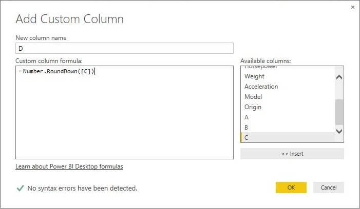 Number.RoundDown function in Power BI Desktop Edition