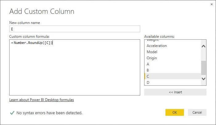 Number.RoundUp function in Power BI Desktop Edition