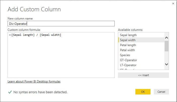 Add Custom Column for Quotient Operator