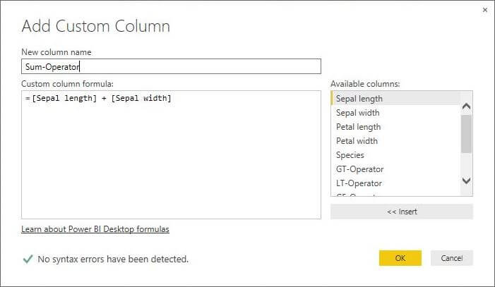 Add Custom Column for Sum Operator