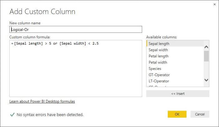 Add Custom Column for Logical Or Operator