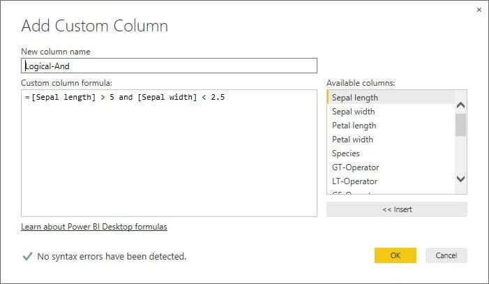 Add Custom Column for Logical And Operator