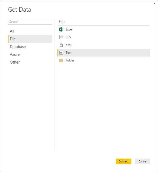 Get Data Screen in Power BI Desktop