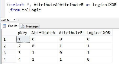 SQL Server T-SQL Logical XOR example