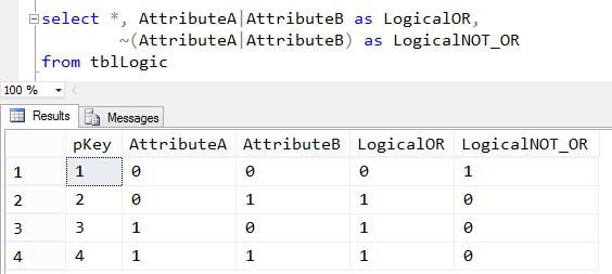 SQL Server T-SQL Logical OR and NOT XOR example