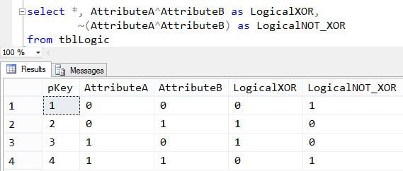 SQL Server T-SQL Logical XOR and NOT XOR example
