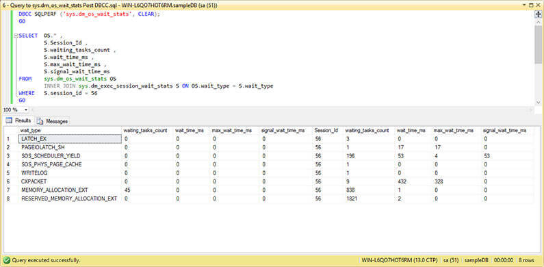 Query to sys.dm_os_wait_stats and sys.dm_exec_session_wait_stats After Running DBCC SQPERF.