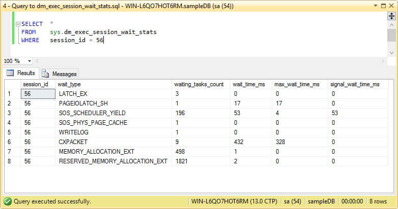 Query to sys.dm_exec_session_wait_stats.