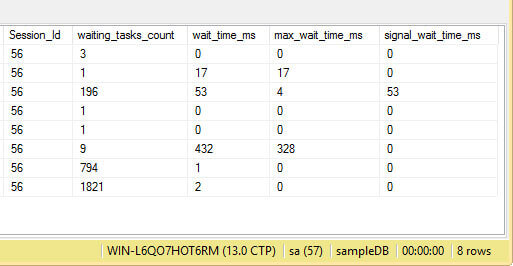 Result Pane of Query to sys.dm_os_wait_stats and sys.dm_exec_session_wait_stats Part 2.