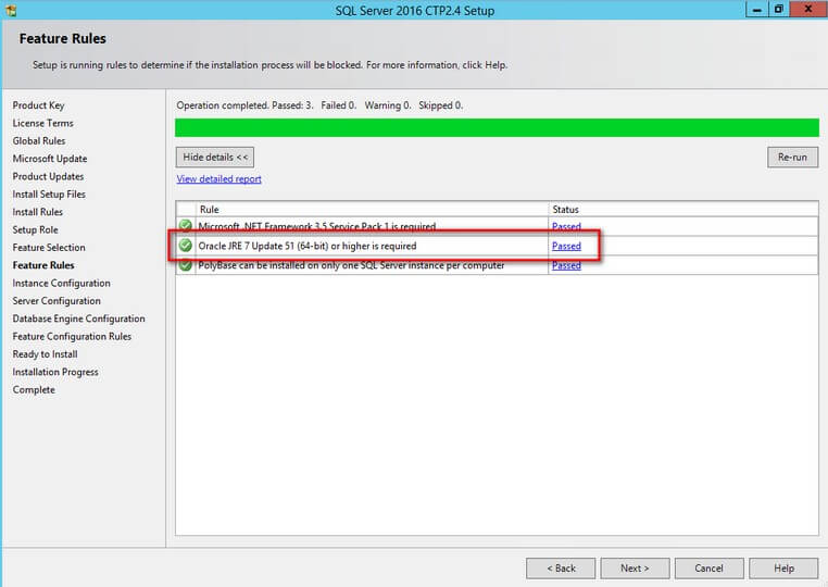 SQL Server 2016 Setup Confirms the JRE Installation is Complete
