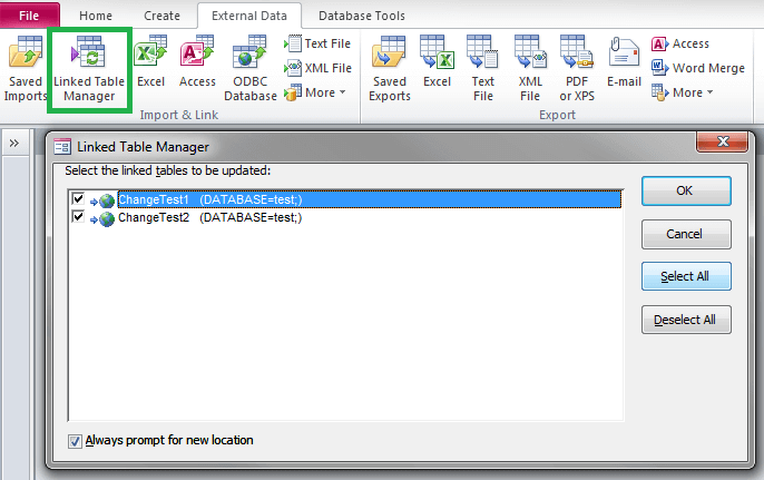 how to change the name of a table in access