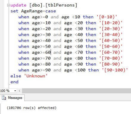 UPDATE statement with a CASE expression to assign the age values an age range bin value