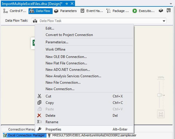Excel Connection Properties