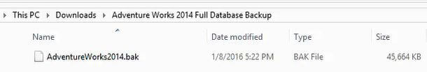 Extracted backup file