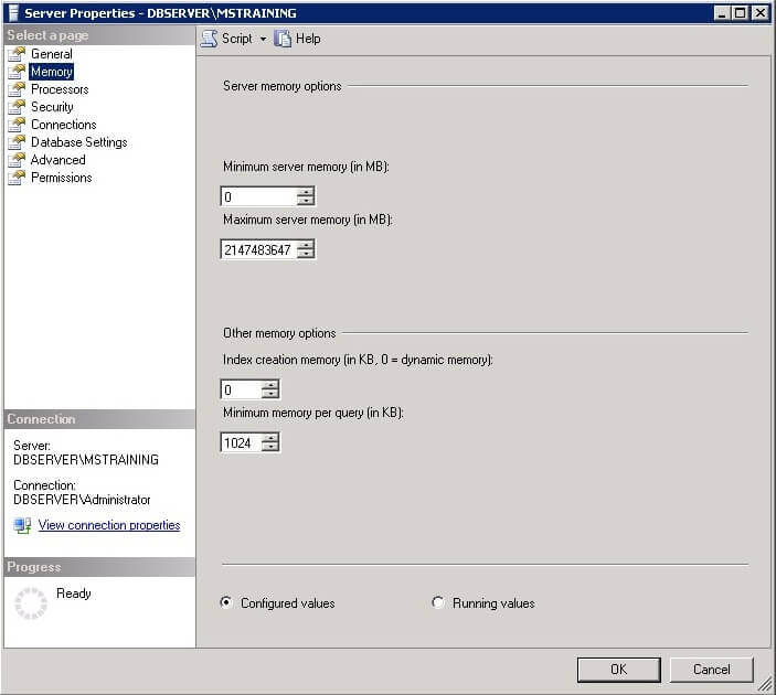 Memory Properties interface in SSMS
