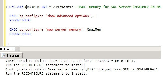 T-SQL script to change the max memory in SQL Server