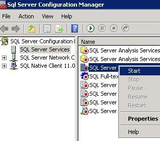 Start SQL Server via SQL Server Configuration Manager