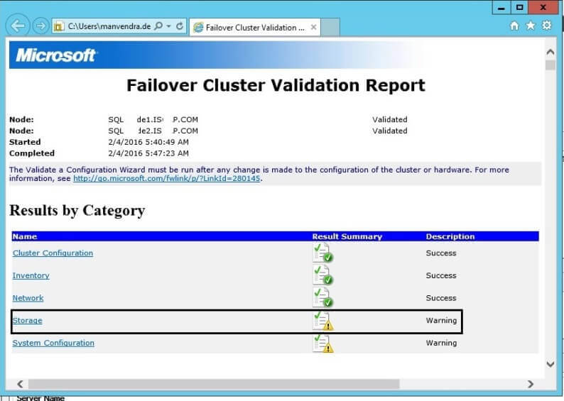 Cluster validation Result