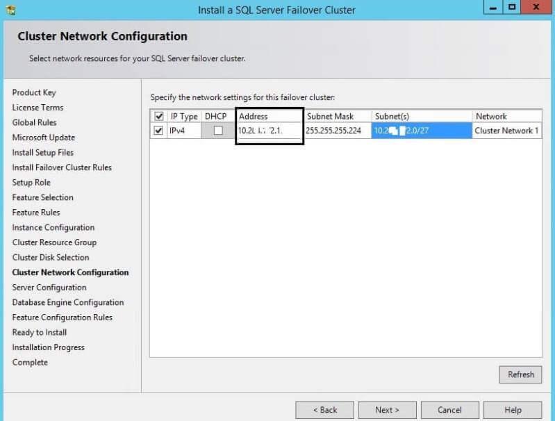 Cluster Network Configuration for a SQL Server Cluster Installation