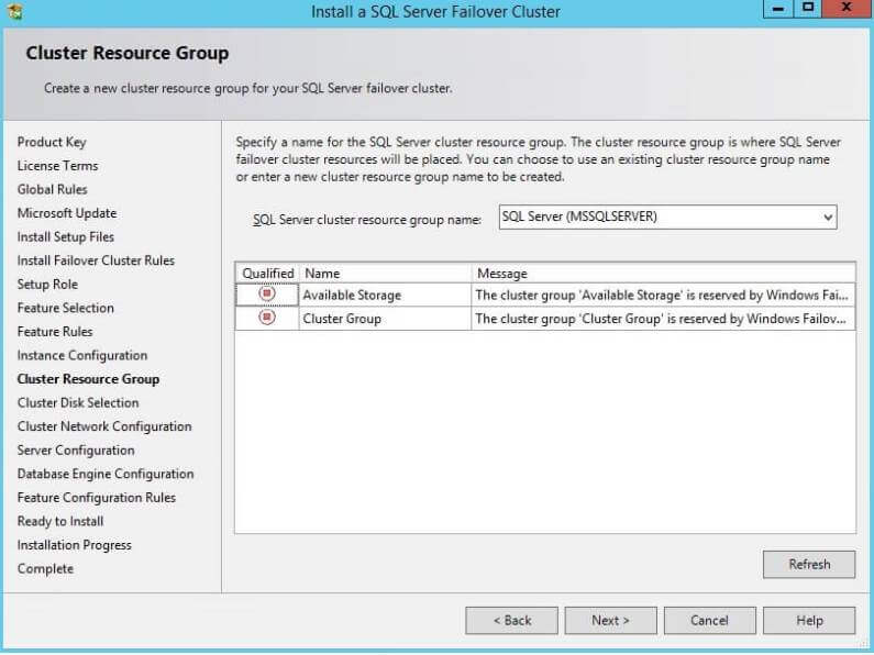 Cluster Resource Group during a SQL Server Cluster Installation