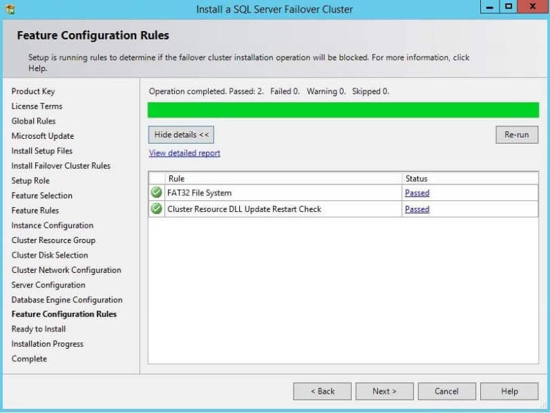 Feature Configuration Rules for a SQL Server Cluster Installation