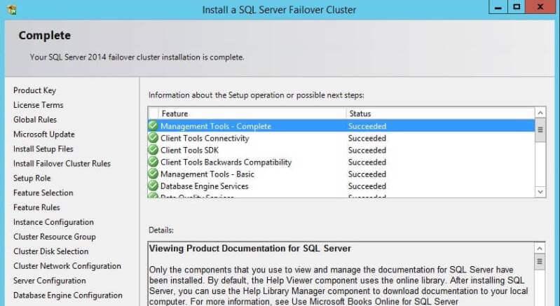Completed SQL Server Cluster Installation