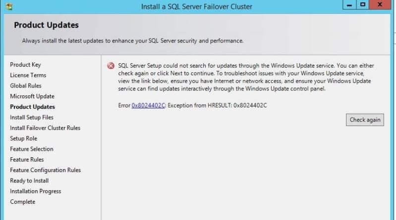 Windows Update Service Error during a SQL Server Cluster Installation