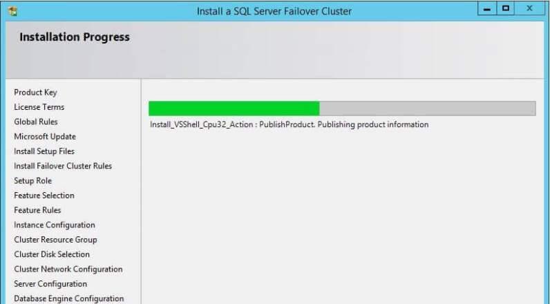 SQL Server Cluster Installation Progress