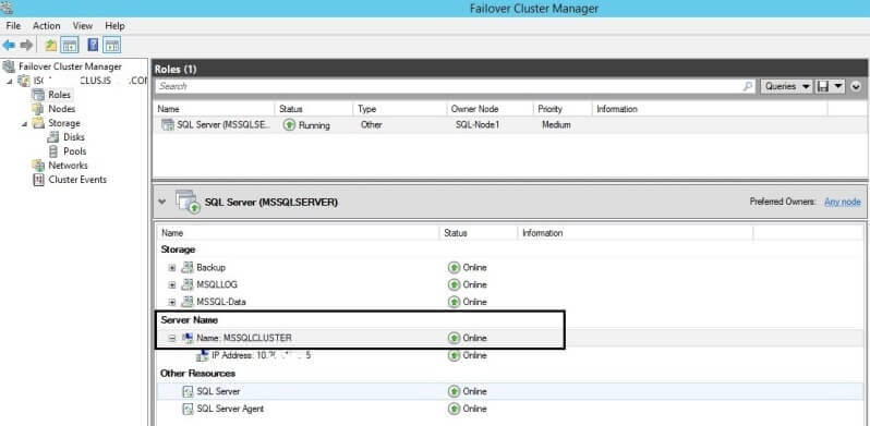 Launch failover cluster manager