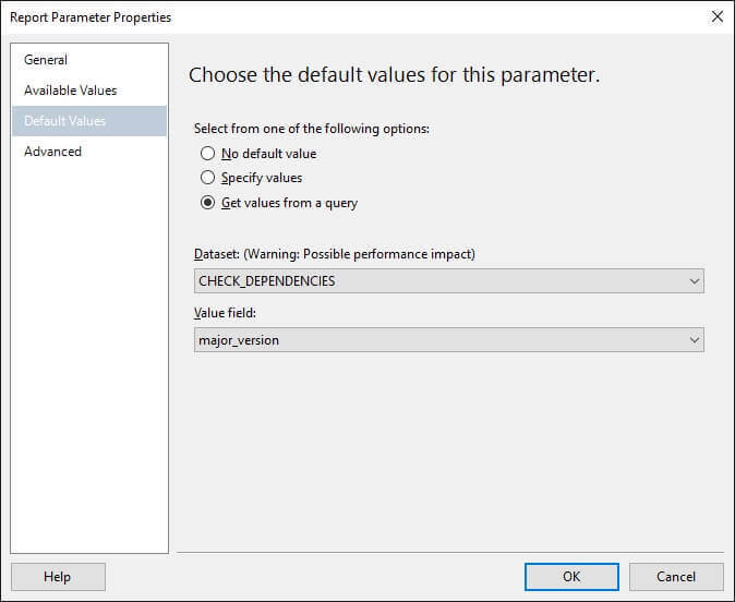 Configure the parameter to use mayor_version field of the CHECK_DEPENDENCIES data set.