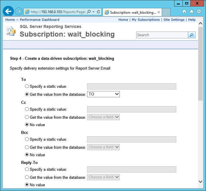 Screen capture of step 4 of the New Data-Driven Subscription wizard.