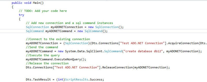 ssis code ado connection example