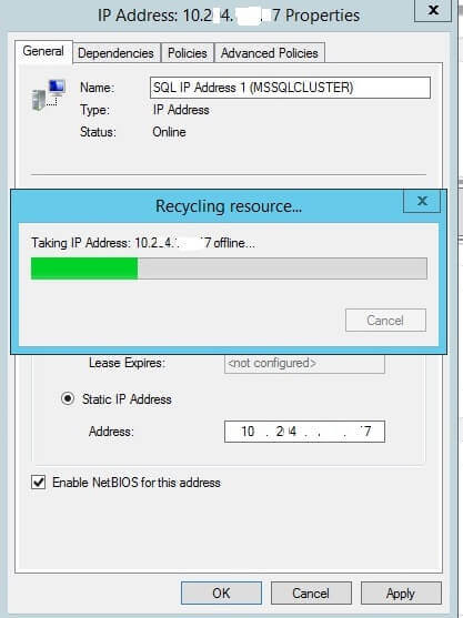Virtual IP address change processing