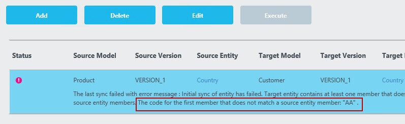 Out of sync error message