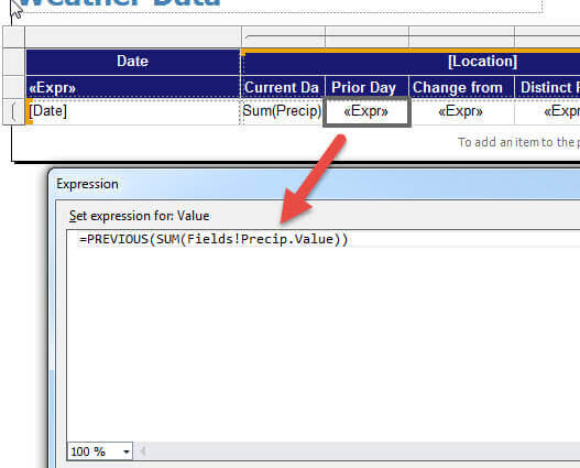 SQL Server Reporting Services CountDistinct and Previous Functions