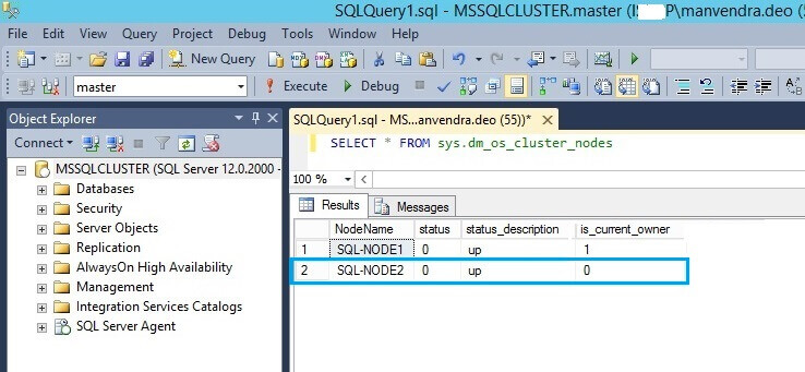 Check nodes in SQL Server via the sys.dm_os_cluster_nodes DMV
