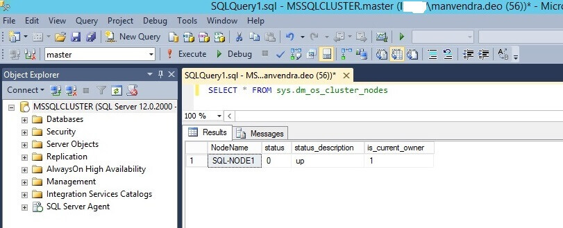 Query the sys.dm_os_cluster_nodes to validate SQL-NODE2 has been removed
