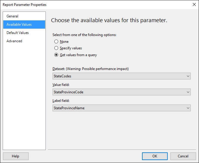 Configure Sub Report tateProvinceCode Parameter to be obtained from StateCodes Dataset.
