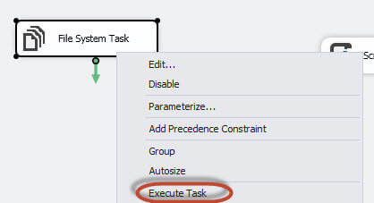 execute the File System Task