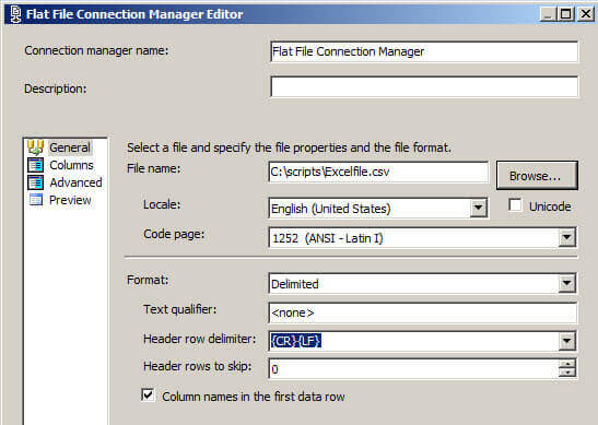 Press the browse button and select the csv file